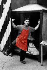 Bogotá: Happy Chef (Tim L Lowe) Tags: red monochrome happy colombia market bogotá chef orton