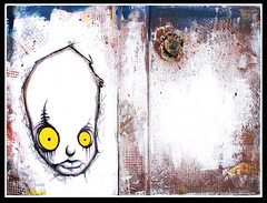 *SOLD*- mixed media on old book cover (SEAMO ONE) Tags: streetart art painting design alone character stickers paintings urbanart bookcover lowbrow seamo sinik