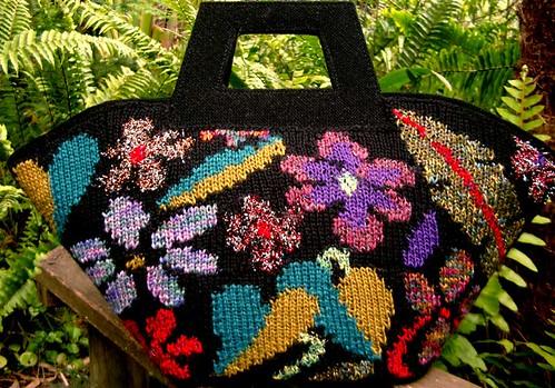 intarsia knit bag