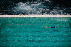 Swim (Lil [Kristen Elsby]) Tags: ocean blue sea water pool bondi swimming swim fence aqua exercise turquoise sydney australia swimmingpool lap lane swimmer getty topf150 icebergs gettyimages laps australasia oceania topv6666 bondiicebergs oceanpool swimminglane bondibaths bondipublicbaths gettyimagesonflickr