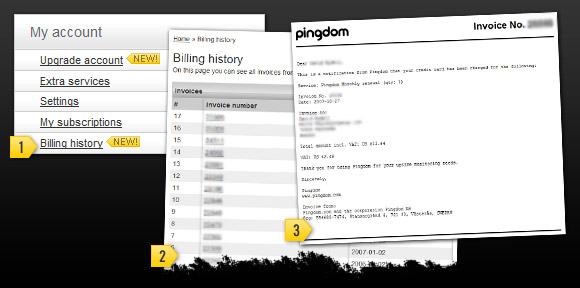 Pingdom billing history