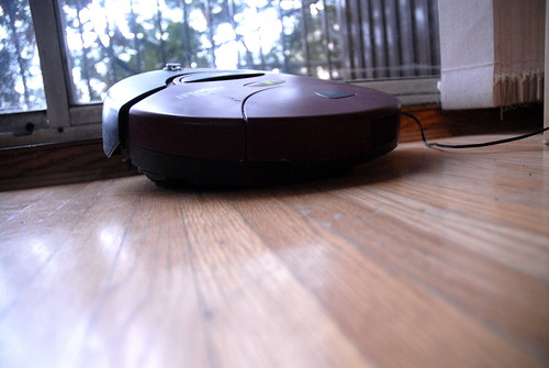 iRobot cleaning hardwood flooring