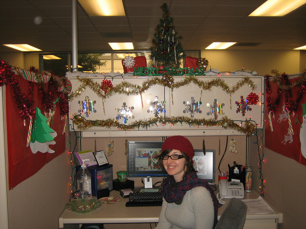 me and my christmas cubicle.