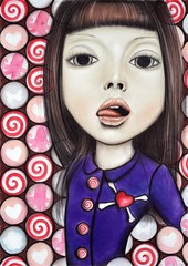 Sweet Love (F l e u r) Tags: cute girl tongue spiral uniform candy heart sweet chocolate pastels sweets licking crossbones thewhitestripes