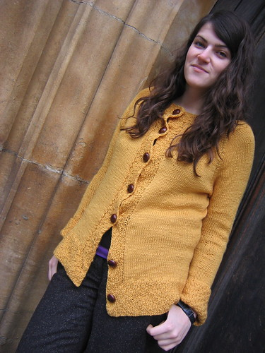 yellow cardigan full shot