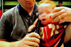 hardcore pacification (mugley) Tags: portrait beer paul kid sapporo nikon toddler dof bokeh daniel posed australia melbourne victoria motionblur gigi notreally swanstonst d300 underagedrinking iso640 shootwideopen tokina1224mmf4atxpro vermininc noalcoholdrunkbykid