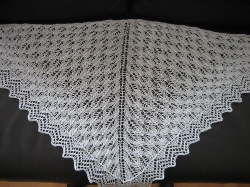 Fir Cone Triangular Shawl, blocked