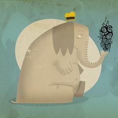 elefantes con sombrero (medialunadegrasa) Tags: sombrero vector sueño elefante juancarlos tipografias