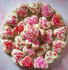 Valentines Day Heart Shaped Confection Cookies (Paper-Pixie) Tags: pink red white cookies kids yummy soft day heart shaped dough delicious sprinkles valentines icing cutter confectionary confection