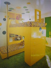Bunk-Type Beds (Heath & the B.L.T. boys) Tags: inspiration yellow modern vintage diy bed bedroom retro polkadots ladder bunkbed decorate kidsroom