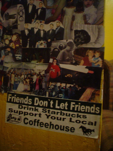 Friends Don't Let Friends Drink Starbuck bumper sticker, Pony Espresso Coffee Shop, Wickenburg, Arizona