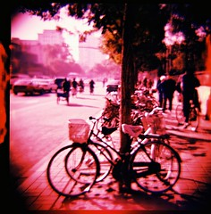 more bicycles (tikayiyay) Tags: 120 6x6 film mediumformat catchycolors iso100 xpro fuji slide bicycles diana expiredfilm astia top20xpro