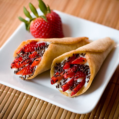 Tuile Cones with Almond Pudding and Strawberries