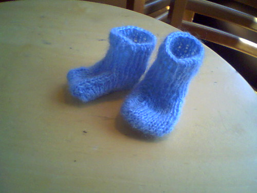 knitted booties for a friend