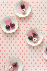 I leave you with this... (mwhammer) Tags: pink red party food brown white detail painting hearts fun japanese dynamic bright chocolate girly patterns shapes vivid fresh crisp round plates lovely playtime styling truffles foodstyling melinahammer