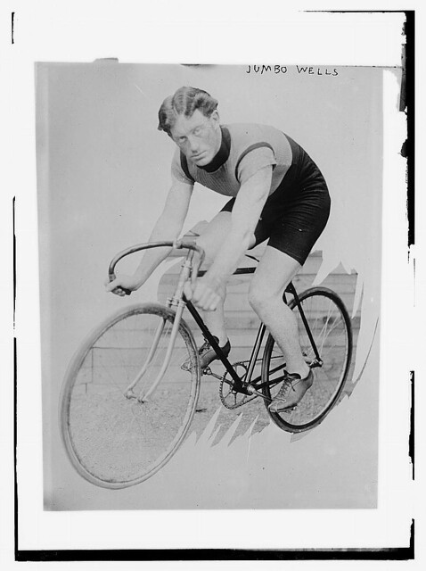 [New Zealand cyclist, Fred] Jumbo Wells on bike (LOC)