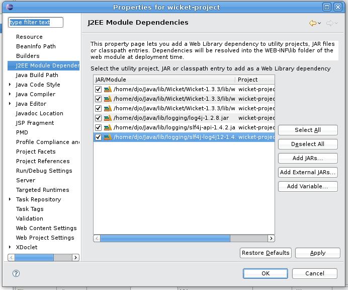 J2EE Module Dependencies
