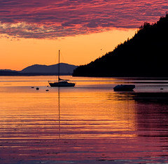 Village Bay Sunset (Jon Christall) Tags: ocean sunset sea sky orange canada bird topf25 clouds sailboat landscape boat bc britishcolumbia orangesky gulfislands     villagebay mayneisland blueribbonwinner   superaplus aplusphoto colorstars