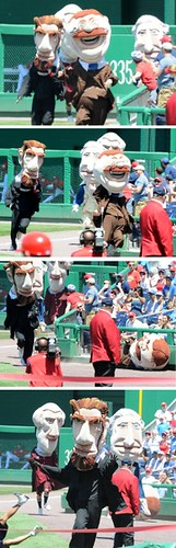 Presidents Race Photos - Teddy Falls & Loses to Abe at Nationals Park, May 26, 2008