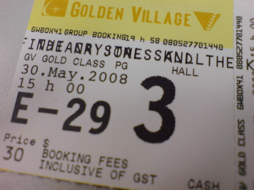 Gold Class movie ticket for Indiana Jones