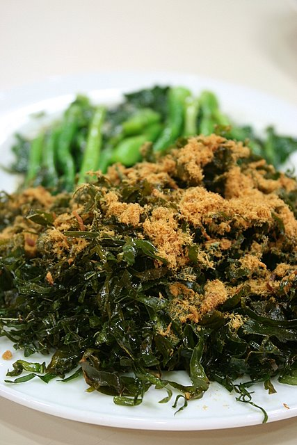 Kailan in two ways - deep-fried shredded leaves topped with pork floss; steamed stalks with garlic