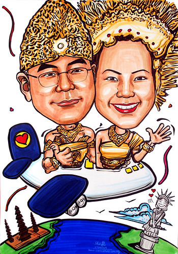 Balinese couple wedding caricatures flying to US