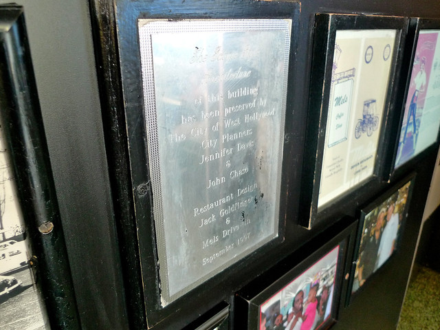 The plaque in Mel's!