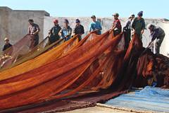 The big net (mhobl) Tags: orange port fishermen morocco maroc afmc hafen arbeit essaouira marokko net2006