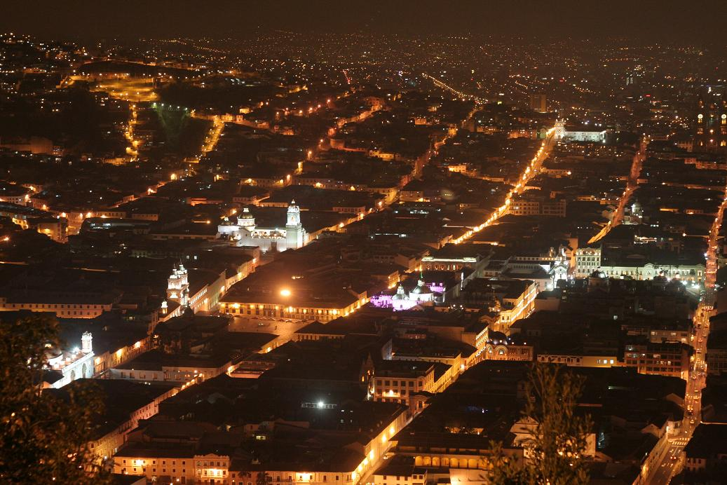 night view of Quito