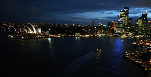 Sydney from the Harbour Bridge at night
