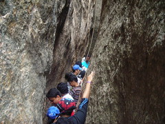 ready to Chimney climb (aanjhan) Tags: trekking bangalore rappelling rbin ramnagar chimneyclimbing
