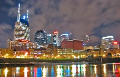 Nashville After the Storm (crashmattb) Tags: color reflection skyline night clouds buildings river downtown cityscape nashville riverside afterthestorm tennessee south riverbank cumberland riverwalk canons2is southernviews