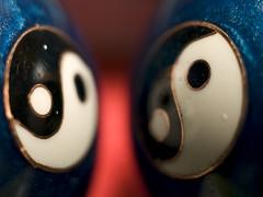 Double Yin Yang (Tiffibunny) Tags: blue red white black macro closeup circle balls symbols yinyang