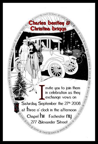 20s car themed wedding - invitation, Car themed wedding - invitations, wedding cakes, flowers, invitation, photos, gowns, dresses
