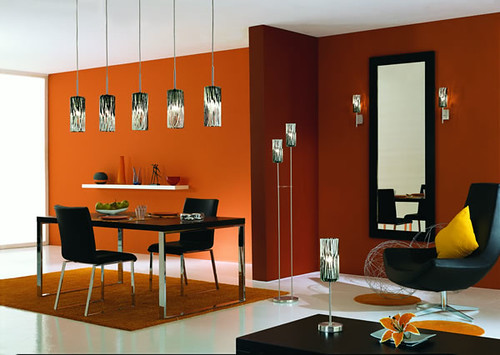 Dining Room Orange Color Interior