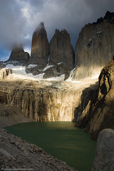 Torres del Paine (Marc Shandro) Tags: chile light patagonia lake mountains southamerica nature rock clouds landscape towers andes torresdelpaine gettyimages pinnacle