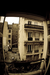 their energy bursts through destroying the silence, secretly i quite like it (Sporlink) Tags: street city paris grime canon15mmfisheye canoneos1dmkiii canonef15mmf28fisheyelens