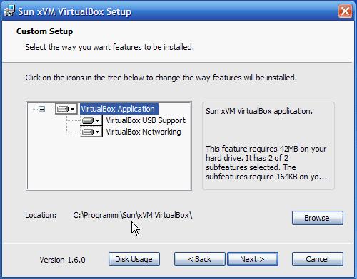 Fig. 2 - VirtualBox - cambiato nome e cartella di installazione