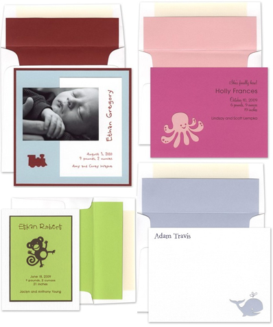 luscious verde baby birth announcements and stationery