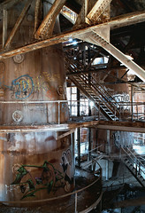 Elephant In The Room (Wєirdlig) Tags: urbex abandoned decay exploring factory industrial exploration rurex asbestos creepy abstract eclectic vacant photography destroyed urban ruins trespass trespassing haunted desolate architecture building house home colorado indoor interior mill sugar longmont furnace furnaces rust rusted tags tagged ladder ladders catwalk catwalks industry