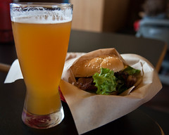 Widmer Hefeweizen along with a Burgerville Pepper Bacon Cheeseburger