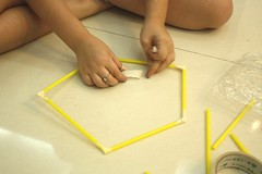 straw tower making pentagon base