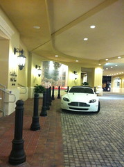 white car miami convertible exotic v8 astonmartin vantage valet
