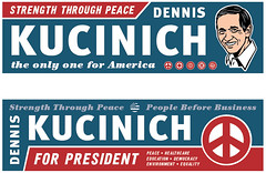 kucinich_bumper_stickers (pjchmiel) Tags: poster design politics hillary bumpersticker hillaryclinton democrat obama johnedwards kucinich denniskucinich barackobama election08