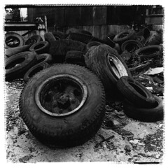 Tires, strewn here and there (Otto K.) Tags: atlanta urban abandoned 6x6 darkroom mediumformat print industrial ruin super center rubber tires warehouse rodinal folder deserted decayed ansco ue recyclingcenter urbex speedex aristaedu passionphotography ottok