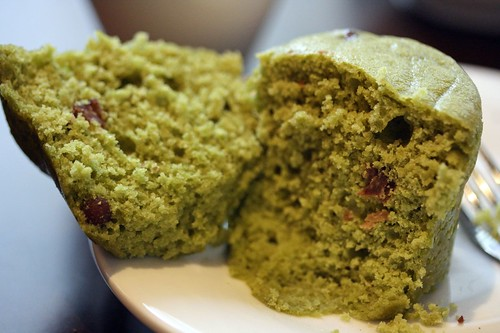 Green Tea Red Bean Muffin...split into two