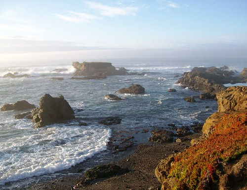 Pounding waves against the obdurate rocks along Glass Beach near Fort Bragg, CA - glassbeach03x