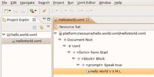 Hello World Vxml in the generated editor.