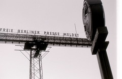 Electric news billboard, Potsdamer Platz, Berlin, 9 September 1959. (allhails) Tags: news berlin germany propaganda censorship billboard communism ddr eastgermany postdamerplatz ed38