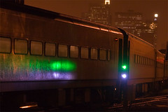 Coaches (MADYUSN1) Tags: railroad white chicago green rain night train rail amtrak passenger storms canoneos30d canonef70200f28is tiltviewer